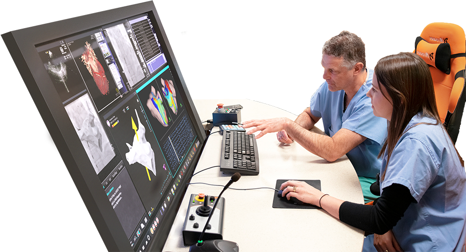 Two physicians reviewing odyssey screen